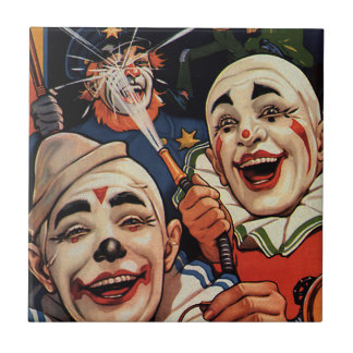 Laughing Circus Clowns and Police, Vintage Humor Small Square Tile