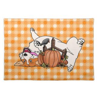 Laughing Corgi with Pumpkin Placemat