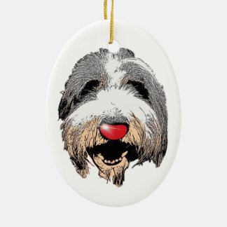 Laughing Dog Red Nose Christmas Hanging Ornament