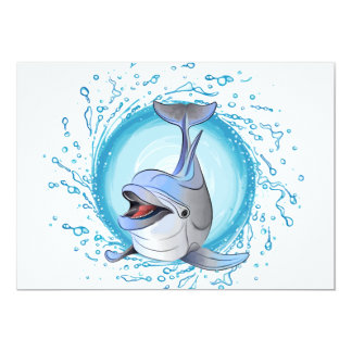 Laughing Dolphin in Splash Circle Card