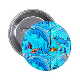 laughing dolphins button 2 inch round button