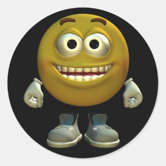 Laughing emoticon round sticker