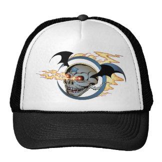 Laughing Flaming Eyeballs Skull with Bat Wings Cap