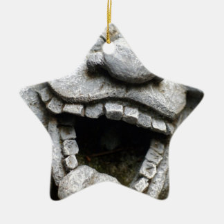 laughing garden gnome of cement ceramic star decoration