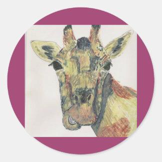 Laughing Giraffe Classic Round Sticker