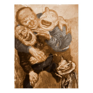 Laughing Grandfather Trolls Postcard