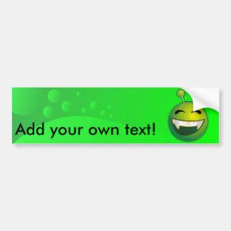 Laughing green alien car bumper sticker
