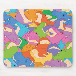 Laughing Hippos - bright colours Mouse Mat