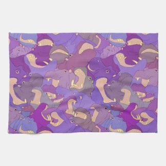 Laughing Hippos - purple Tea Towel