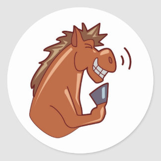 Laughing Horse Classic Round Sticker