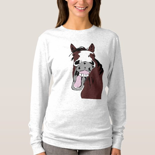 Laughing Horse Head  Humour for Horse Lovers T-Shirt