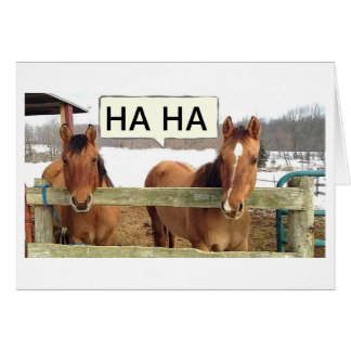 "LAUGHING HORSES SHARE JOKE THAT YOU ARE ""50"" GREETING CARD"