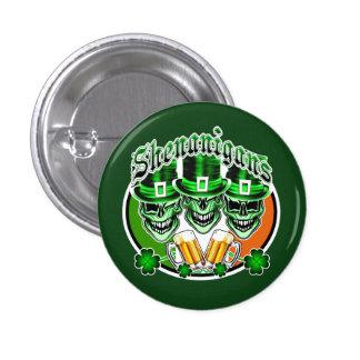 Laughing Irish Leprechaun Skulls: Shenanigans 3 Cm Round Badge