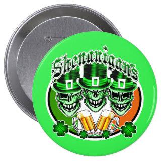 Laughing Irish Leprechaun Skulls: Shenanigans 10 Cm Round Badge