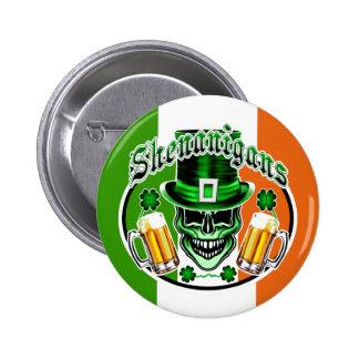 Laughing Irish Leprechaun Skulls: Shenanigans Button