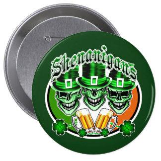 Laughing Irish Leprechaun Skulls: Shenanigans Pinback Buttons