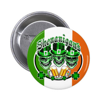 Laughing Irish Leprechaun Skulls: Shenanigans Buttons