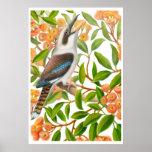 Laughing Kookaburra in Gum Tree Print