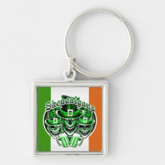 Laughing Leprechauns: Shenanigans 3 Silver-Colored Square Key Ring