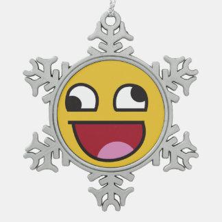 laughing out loud emoji pewter snowflake decoration