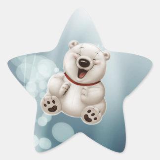 Laughing polar teddy-bear star sticker