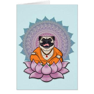 Laughing Pug Mandala Greeting Card