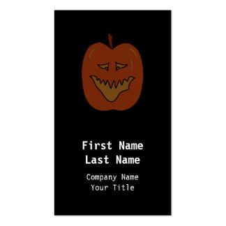 Laughing Pumpkin Cartoon. Dark Colors. Business Cards
