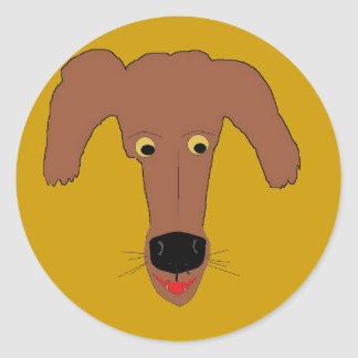 Laughing Puppy Classic Round Sticker