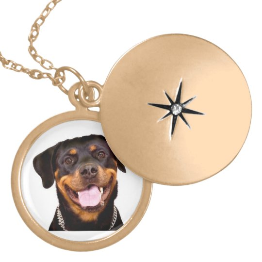 Laughing Rottweiler round locket necklace