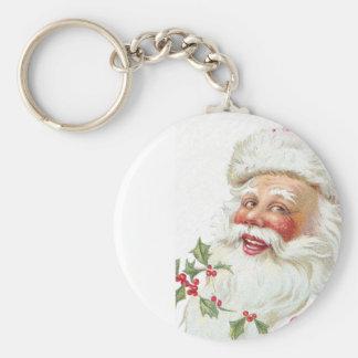 Laughing Santa Claus Vintage 1912 Xmas Basic Round Button Key Ring