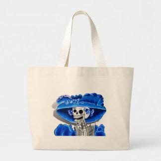 Laughing Skeleton Woman in Blue Bonnet Jumbo Tote Bag