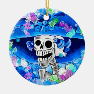 Laughing Skeleton Woman in Blue Bonnet on Blue Christmas Ornament