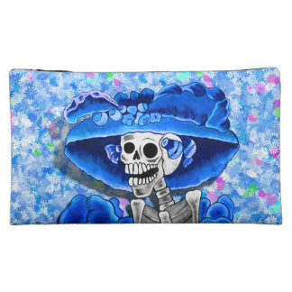 Laughing Skeleton Woman in Blue Bonnet on Blue Makeup Bags