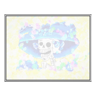 Laughing Skeleton Woman in Blue Bonnet on Yellow 21.5 Cm X 28 Cm Flyer