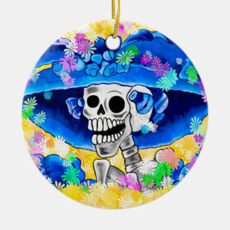 Laughing Skeleton Woman in Blue Bonnet on Yellow Round Ceramic Decoration