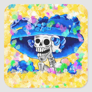 Laughing Skeleton Woman in Blue Bonnet on Yellow Square Sticker