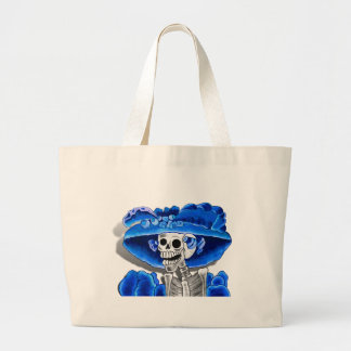 Laughing Skeleton Woman in Blue Bonnet Bag