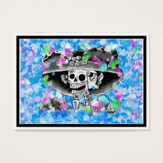 Laughing Skeleton Woman in Bonnet on Blue