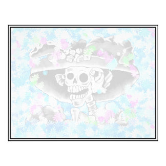 Laughing Skeleton Woman in Bonnet on Blue Personalized Flyer