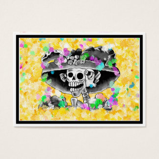 Laughing Skeleton Woman in Bonnet on Yellow