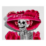 Laughing Skeleton Woman in Red Bonnet