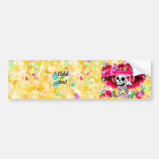 Laughing Skeleton Woman in Red Bonnet Bumper Sticker