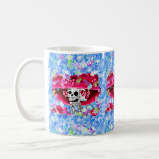 Laughing Skeleton Woman in Red Bonnet Coffee Mug