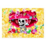 Laughing Skeleton Woman in Red Bonnet on Yellow Pack Of Chubby Business Cards