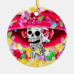 Laughing Skeleton Woman in Red Bonnet on Yellow Round Ceramic Decoration
