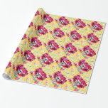 Laughing Skeleton Woman in Red Bonnet on Yellow Gift Wrapping Paper