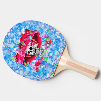 Laughing Skeleton Woman in Red Bonnet Ping Pong Paddle