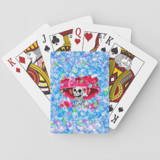 Laughing Skeleton Woman in Red Bonnet Playing Cards