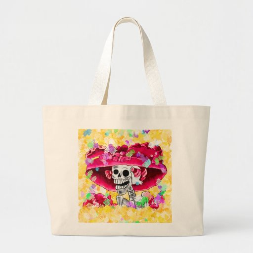 Laughing Skeleton Woman in Red Bonnet Jumbo Tote Bag