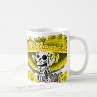 Laughing Skeleton Woman in Yellow Bonnet Coffee Mugs